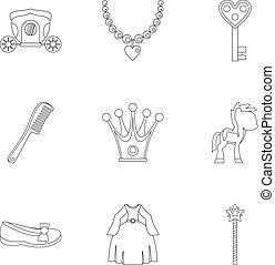Princess fairy tail icon set, outline style