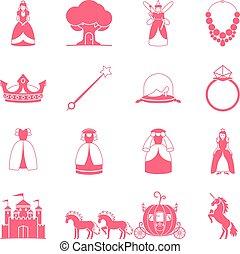 Princess fairytale icon set