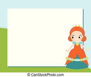 Princess Frame Design Template For Photos Children Diplomas Kids Certificate Invitations Scrapbook