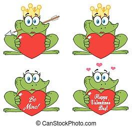 Princess Frog Cartoon Mascot Character 2. Collection Set
