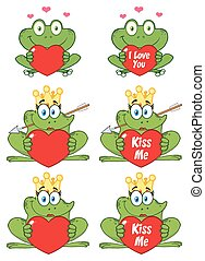 Princess Frog Cartoon Mascot Character 3. Collection Set