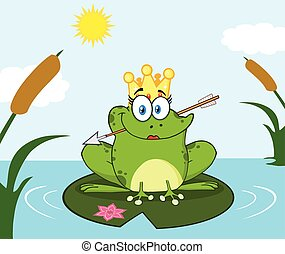Princess Frog Cartoon Mascot Character With Crown And Arrow Perched On A Pond Lily Pad In Lake