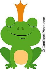 Princess frog, illustration, vector on white background.