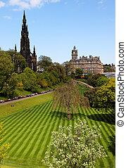 Princess Gardens. Edinburgh. UK. - Striped lawn of Princess...