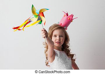 Princess girl with pinwheel