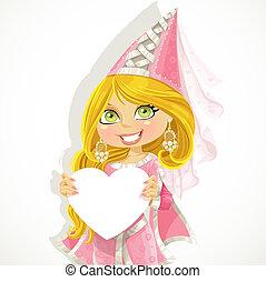 Princess holding a banner-heart
