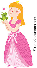 Princess holding a frog vector illustration