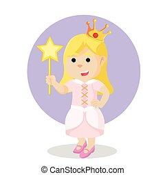 princess holding wand colorful
