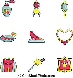 Princess icons set, flat style