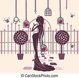 Princess in a magical garden with cell in hand