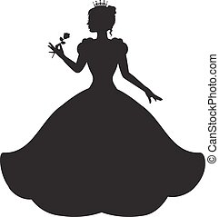 princess in a magnificent dress - princess silhouette in...