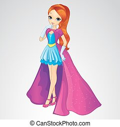 Princess In Blue Dress And Long Coat