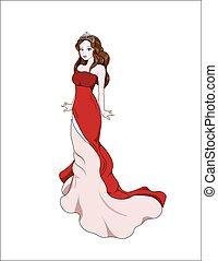 princess in red dress