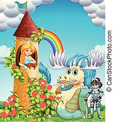 Princess in tower with knight and dragon