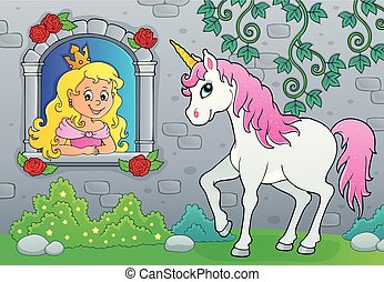 Princess in window and unicorn theme 2