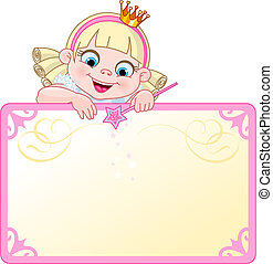 Cute Princess character on a place card or invite. Ideal for little girls parties and promotions.