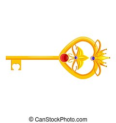 Princess key is fabulous of gold with precious stones, jewelry work, fairy tale, myth, legend Middle Ages Europe culture. Vector, illustration, cartoon style, isolated