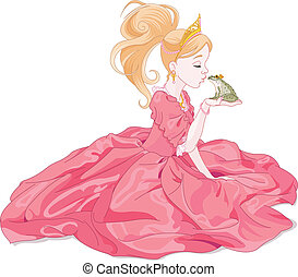 Princess Kissing Frog - Fairy-tale Princess kissing a frog,...