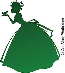 princess kissing frog - silhouette of a princess kissing a...