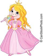 Princess licks lollipop - Illustration of cute princess...