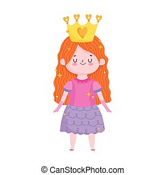 princess little girl with crown cartoon character
