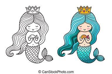 Princess mermaid. Cute cartoon character.