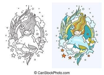 Princess mermaid with dolphin. Cute cartoon character.