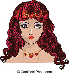 Princess of hearts - Illustration of fantasy red haired girl...