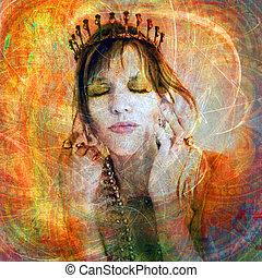 Woman wearing a tiara. Photo based illustration.