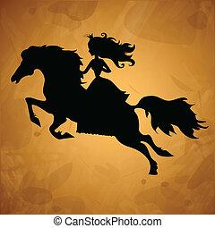 Princess on horse silhouette