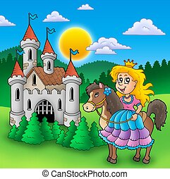 Princess on horse with old castle - color illustration.