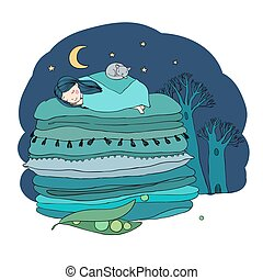 Princess on the Pea. Blankets and pillows. Hand drawing...