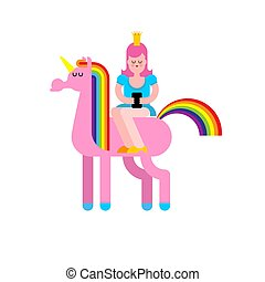 Princess on Unicorn and smartphone. Daughter of king on Fairy Horse with Horn. Vector illustration
