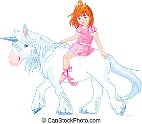 Princess on unicorn - Cute little princess riding on a...