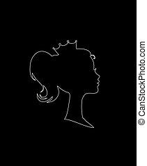 Princess or Queen Profile Silhouette with Crown