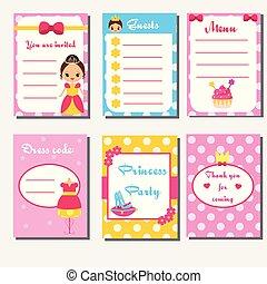 Princess party kids collection. Children girls party set design template. Menu, guest list, invitation
