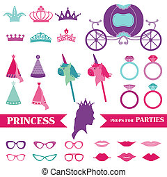 Princess Party set - photobooth props - crown, rings, ...