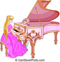 Princess Playing the Piano - Illustration of princess...