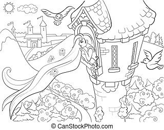 Princess Rapunzel in the stone tower coloring for children cartoon vector illustration. Zentangle style. Black and white