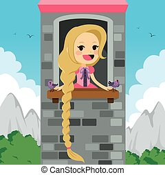 Princess Rapunzel in tower waiting for Prince with bird friends