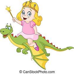 princess riding dragon.eps - Young princess riding a dragon