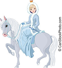 Winter illustration Beautiful princess with riding horse