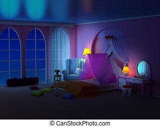 princess room with armchair night