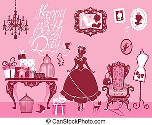 Princess Room with glamour accessories, furniture, cages, gift b