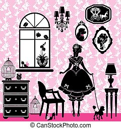 Princess Room with glamour accessories, furniture, cages, pictur