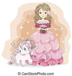 Princess rose flower and unicorn