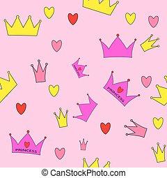 Princess Seamless Pattern Background Vector Illustration
