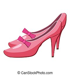 Princess shoes icon, cartoon style