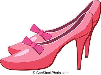 Princess shoes icon, cartoon style