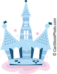 Princess sky Castle isolated on white ( blue )